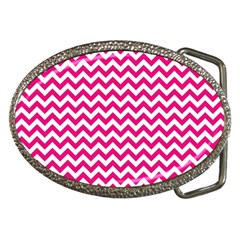Hot Pink And White Zigzag Belt Buckle (Oval) by Zandiepants
