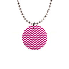 Hot Pink And White Zigzag Button Necklace by Zandiepants