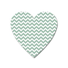Jade Green And White Zigzag Magnet (heart) by Zandiepants