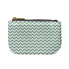 Jade Green And White Zigzag Coin Change Purse by Zandiepants
