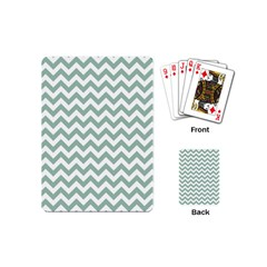 Jade Green And White Zigzag Playing Cards (mini) by Zandiepants