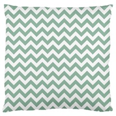 Jade Green And White Zigzag Large Cushion Case (single Sided)  by Zandiepants