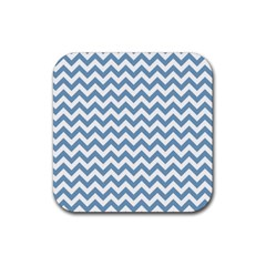 Blue And White Zigzag Drink Coasters 4 Pack (Square) by Zandiepants