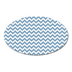 Blue And White Zigzag Magnet (oval) by Zandiepants