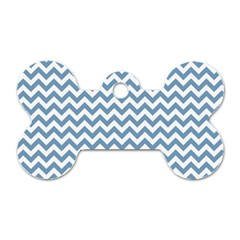 Blue And White Zigzag Dog Tag Bone (two Sided) by Zandiepants