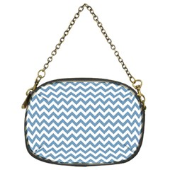Blue And White Zigzag Chain Purse (two Sided)  by Zandiepants