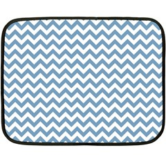 Blue And White Zigzag Mini Fleece Blanket (two Sided)