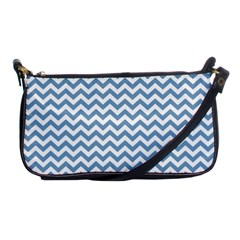 Blue And White Zigzag Evening Bag by Zandiepants