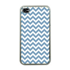 Blue And White Zigzag Apple Iphone 4 Case (clear) by Zandiepants