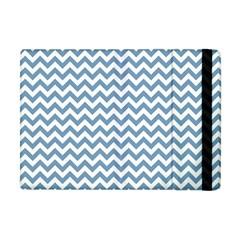 Blue And White Zigzag Apple Ipad Mini Flip Case by Zandiepants