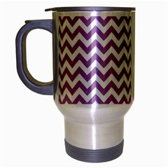 Lilac And White Zigzag Travel Mug (silver Gray) by Zandiepants