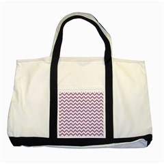 Lilac And White Zigzag Two Toned Tote Bag by Zandiepants