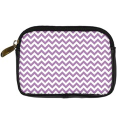Lilac And White Zigzag Digital Camera Leather Case by Zandiepants