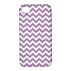 Lilac And White Zigzag Apple Iphone 4/4s Hardshell Case With Stand by Zandiepants