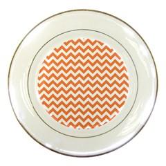 Orange And White Zigzag Porcelain Display Plate by Zandiepants