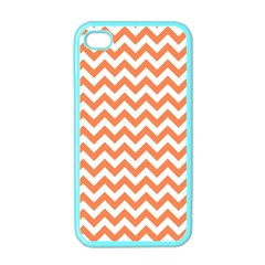 Orange And White Zigzag Apple Iphone 4 Case (color) by Zandiepants