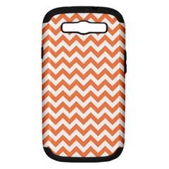 Orange And White Zigzag Samsung Galaxy S Iii Hardshell Case (pc+silicone) by Zandiepants