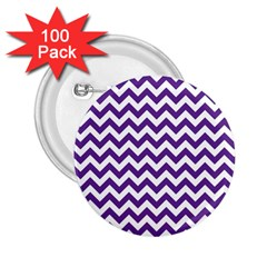 Purple And White Zigzag Pattern 2 25  Button (100 Pack) by Zandiepants
