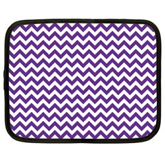 Purple And White Zigzag Pattern Netbook Sleeve (large) by Zandiepants