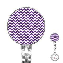 Purple And White Zigzag Pattern Stainless Steel Nurses Watch by Zandiepants