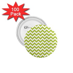 Spring Green And White Zigzag Pattern 1 75  Button (100 Pack) by Zandiepants