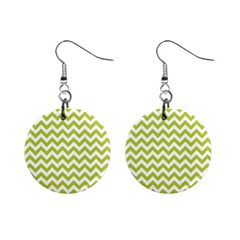 Spring Green And White Zigzag Pattern Mini Button Earrings by Zandiepants