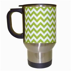 Spring Green And White Zigzag Pattern Travel Mug (white) by Zandiepants