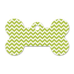 Spring Green And White Zigzag Pattern Dog Tag Bone (two Sided) by Zandiepants