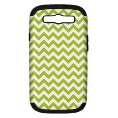 Spring Green And White Zigzag Pattern Samsung Galaxy S Iii Hardshell Case (pc+silicone) by Zandiepants