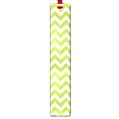 Spring Green And White Zigzag Pattern Large Bookmark by Zandiepants