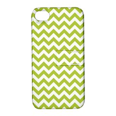 Spring Green And White Zigzag Pattern Apple Iphone 4/4s Hardshell Case With Stand by Zandiepants