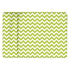 Spring Green And White Zigzag Pattern Samsung Galaxy Tab 10.1  P7500 Flip Case