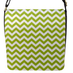 Spring Green And White Zigzag Pattern Flap Closure Messenger Bag (small) by Zandiepants