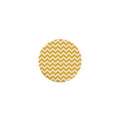 Sunny Yellow And White Zigzag Pattern 1  Mini Button by Zandiepants