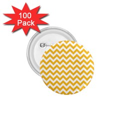 Sunny Yellow And White Zigzag Pattern 1 75  Button (100 Pack) by Zandiepants