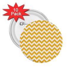 Sunny Yellow And White Zigzag Pattern 2 25  Button (10 Pack) by Zandiepants