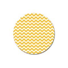 Sunny Yellow And White Zigzag Pattern Magnet 3  (round) by Zandiepants