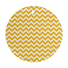 Sunny Yellow And White Zigzag Pattern Round Ornament (two Sides)