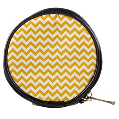 Sunny Yellow And White Zigzag Pattern Mini Makeup Case by Zandiepants