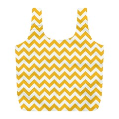 Sunny Yellow And White Zigzag Pattern Reusable Bag (l) by Zandiepants