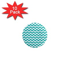 Turquoise And White Zigzag Pattern 1  Mini Button Magnet (10 Pack) by Zandiepants