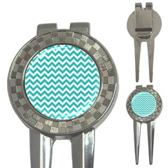Turquoise And White Zigzag Pattern Golf Pitchfork & Ball Marker by Zandiepants
