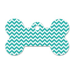 Turquoise And White Zigzag Pattern Dog Tag Bone (one Sided) by Zandiepants