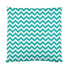 Turquoise And White Zigzag Pattern Cushion Case (two Sided)  by Zandiepants