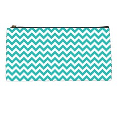 Turquoise And White Zigzag Pattern Pencil Case by Zandiepants