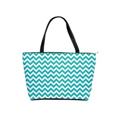 Turquoise And White Zigzag Pattern Large Shoulder Bag by Zandiepants
