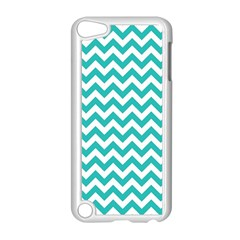 Turquoise And White Zigzag Pattern Apple Ipod Touch 5 Case (white)