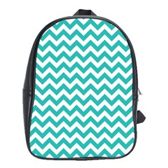 Turquoise And White Zigzag Pattern School Bag (xl) by Zandiepants