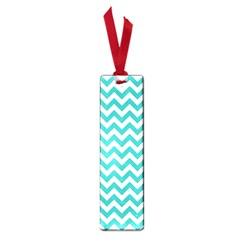 Turquoise And White Zigzag Pattern Small Bookmark by Zandiepants