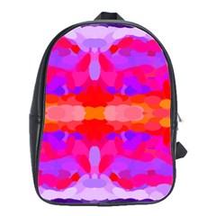 Purple, Pink And Orange Tie Dye  By Celeste Khoncepts Com School Bag (large) by Khoncepts